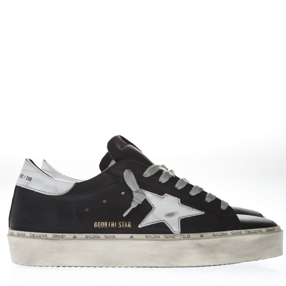 ebe2d62ba252 BLACK LEATHER HI STAR SNEAKERS SS19 - GOLDEN GOOSE DELUXE BRAND - Boutique  Galiano