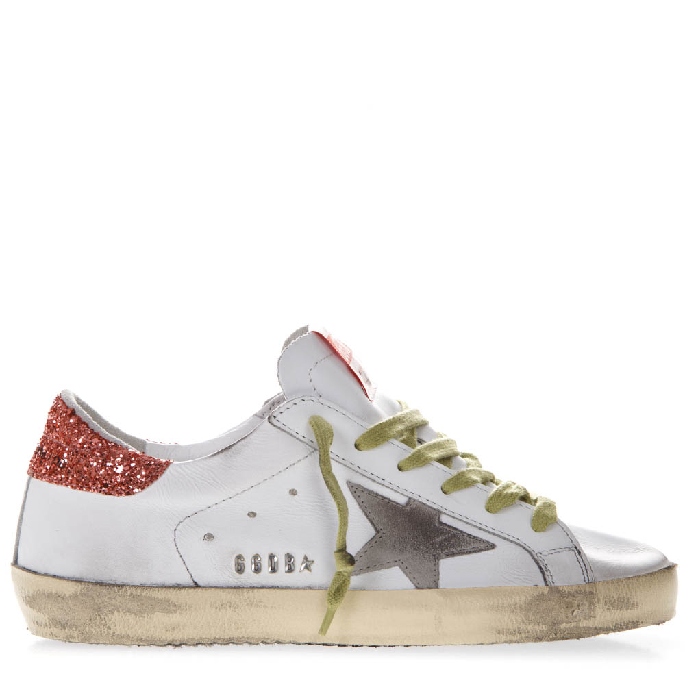 28e57af69452 GOLDEN GOOSE WHITE LEATHER GLITTER HEEL SNEAKER SS19 - GOLDEN GOOSE DELUXE  BRAND - Boutique Galiano