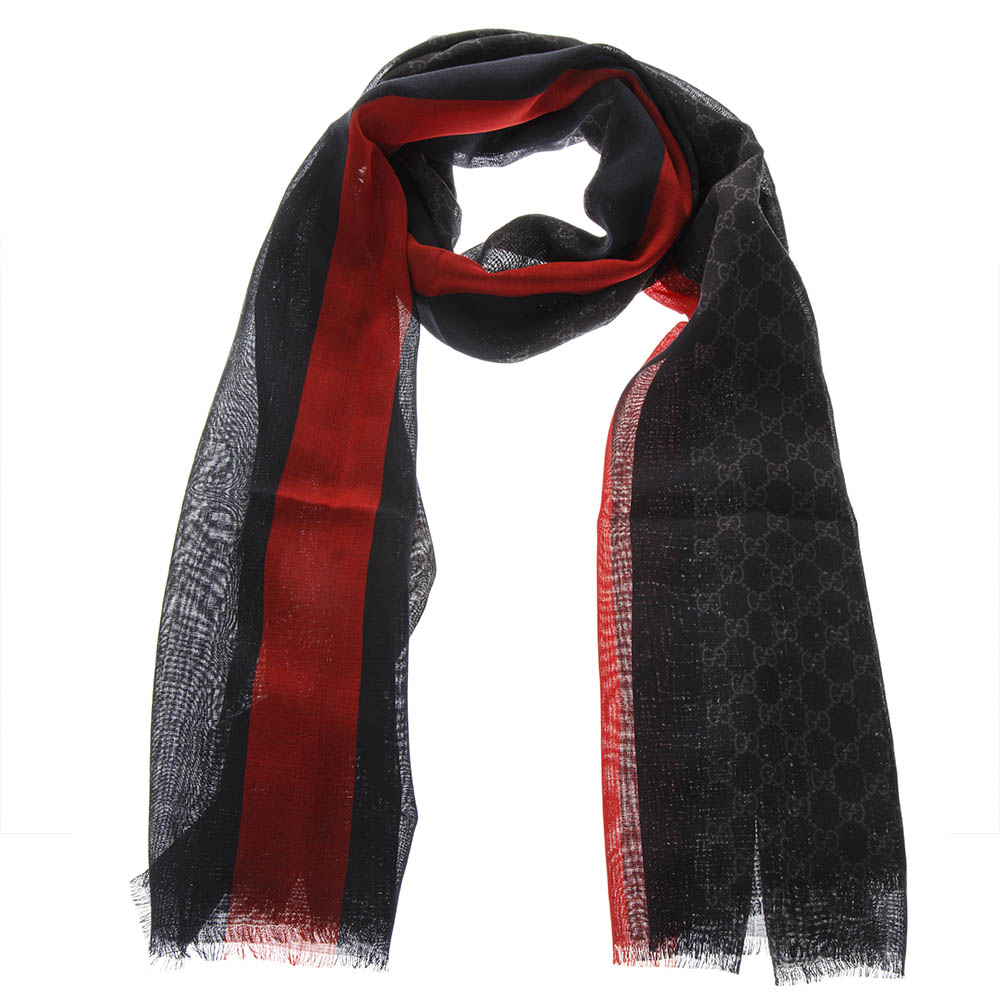 18d3c2567b2 BLACK WOOL ALL OVER GG SCARF SS 2019 - GUCCI - Boutique Galiano