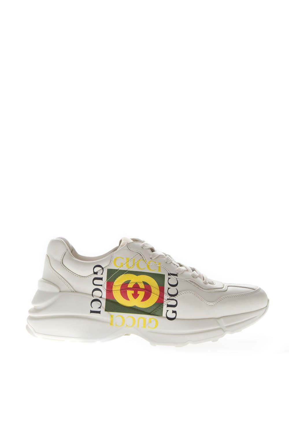 27850c907 RHYTON IVORY LEATHER LOGO SNEAKERS SS 2019 - GUCCI - Boutique Galiano