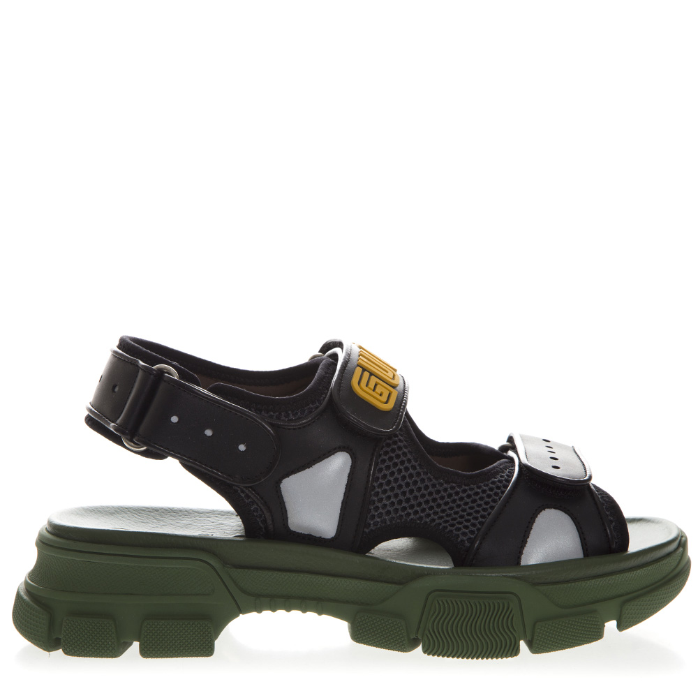 6a1ee41f3b9 BLACK AND GREEN SANDAL IN LEATHER AND MASH SS 2019 - GUCCI - Boutique  Galiano
