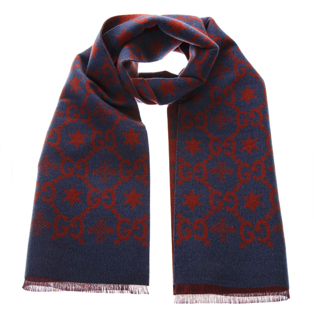 6cdd82817ca BEES AND STARS GG JACQUARD SCARF IN WOOL SS 2019 - GUCCI - Boutique Galiano