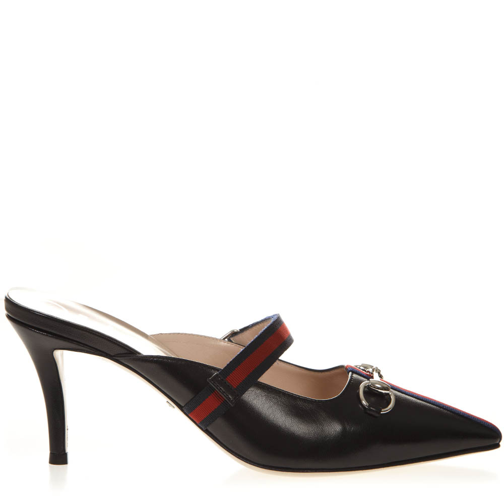 3466ae8264f BLACK LEATHER MID-HEEL SLIDE WITH WEB SS 2019 - GUCCI - Boutique Galiano