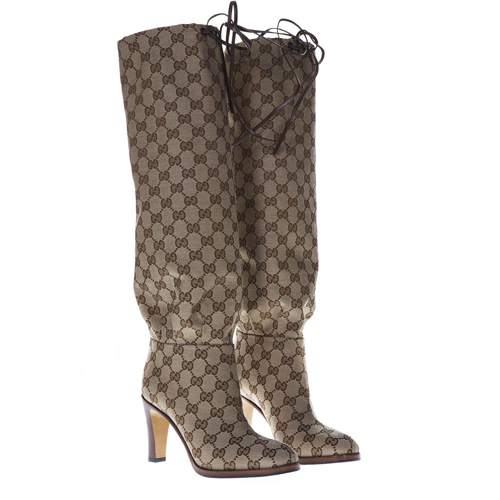 464838b06 GG SUPREME BEIGE & EMOBY OVER-THE-KNEES BOOTS SS 2019 - GUCCI ...