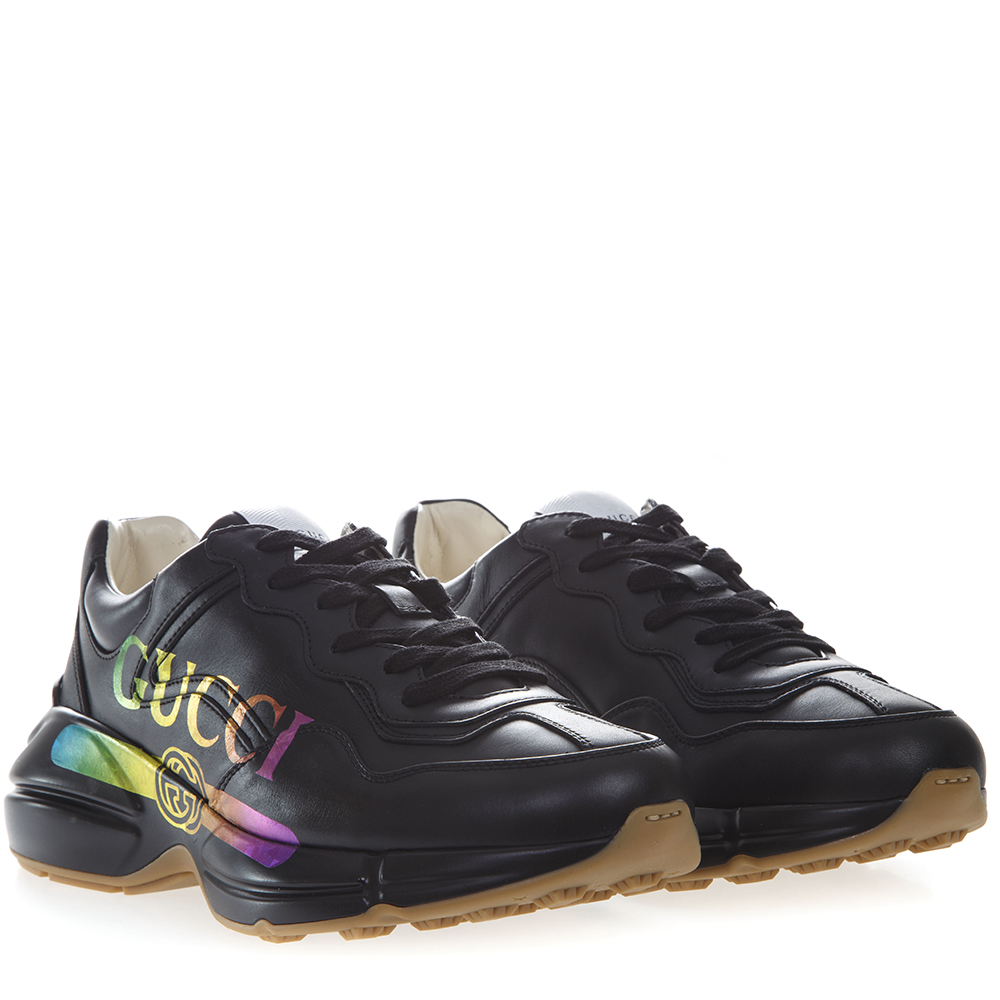 a18100853 RYTHON BLACK LEATHER SNEAKERS WITH RAIMBOW LOGO GUCCI