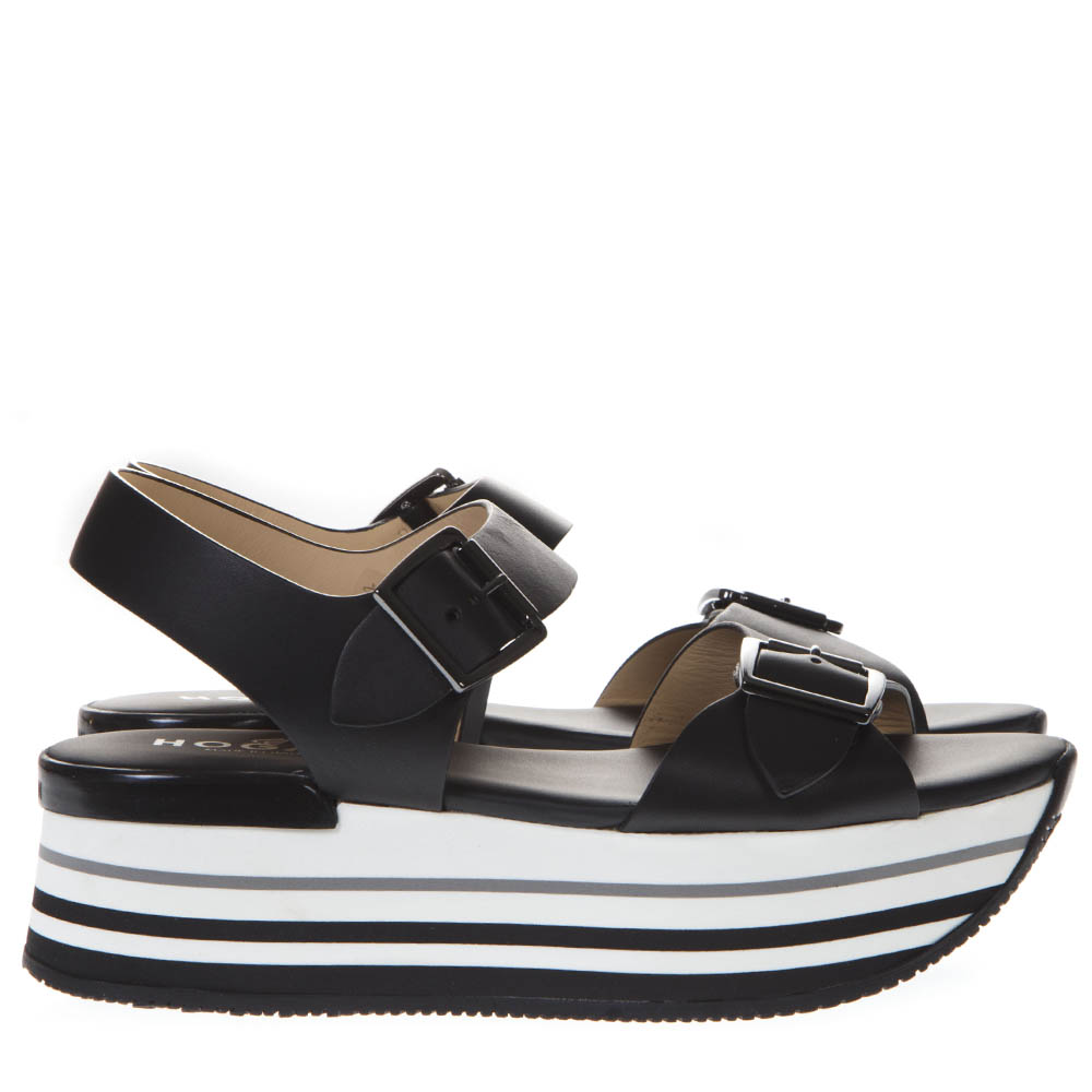 192be73831 BLACK MAXI H222 SANDALS IN LEATHER SS 2019 - HOGAN - Boutique Galiano