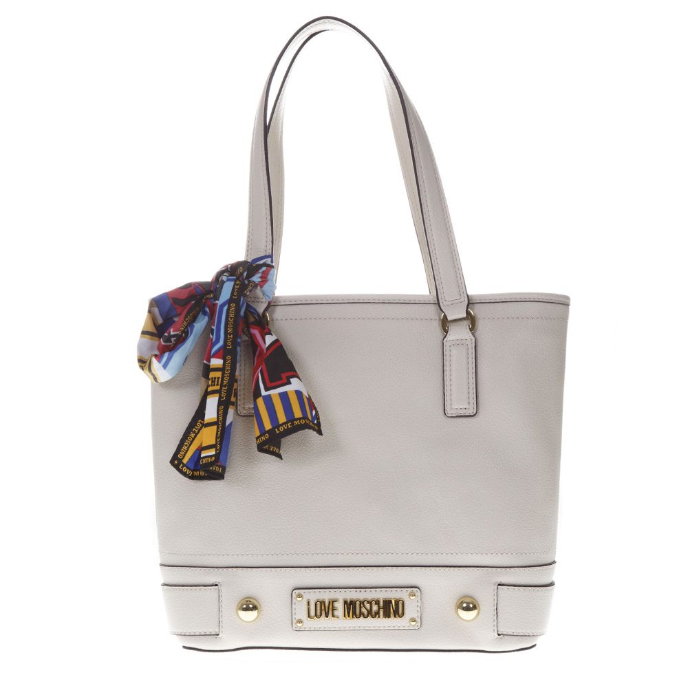983f4fcd65 IVORY SCARF-DETAIL TOTE BAG IN FAUX LEATHER SS 2019 - LOVE MOSCHINO -  Boutique Galiano