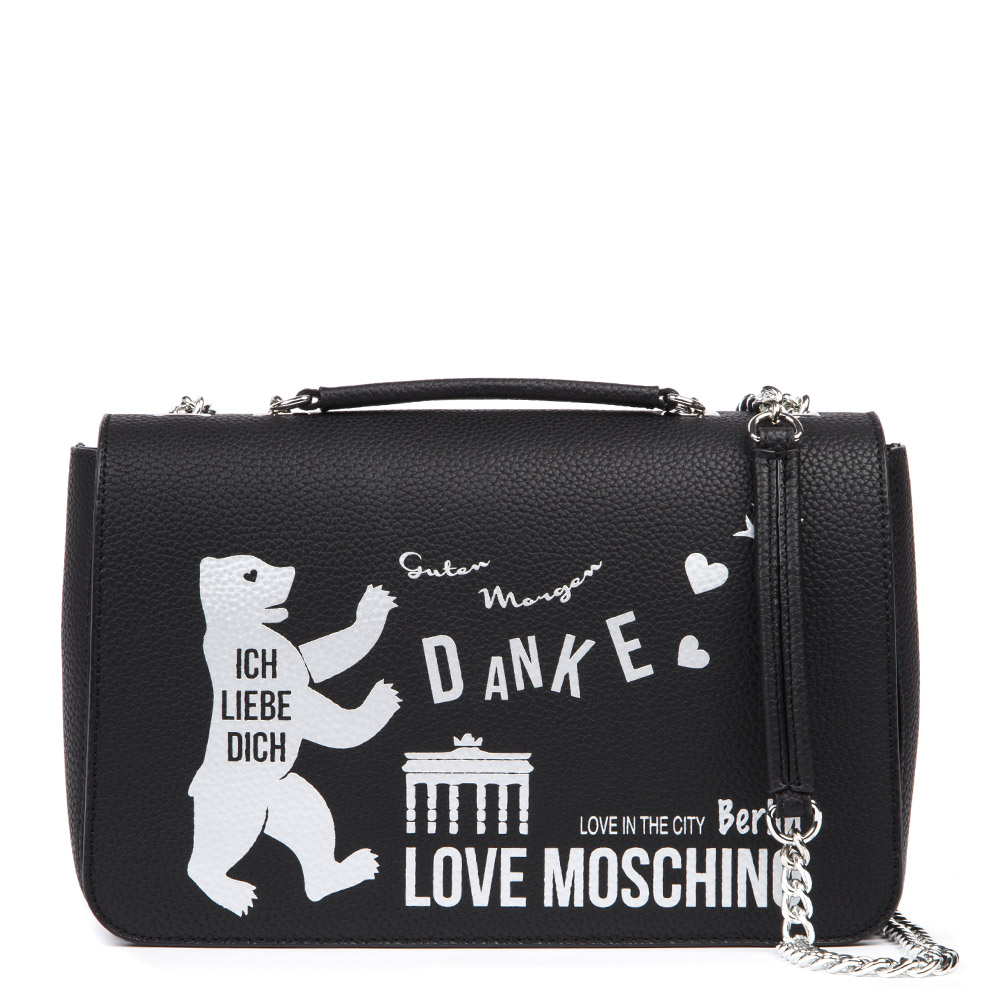 0abd10cd94 BERLIN LOVE IN THE CITY BLACK SHOULDER BAG SS 2019 - LOVE MOSCHINO - Boutique  Galiano