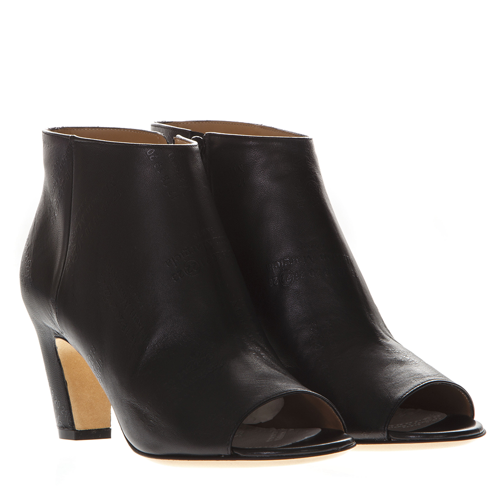 BLACK LEATHER LOGOED OPEN TOE ANKLE BOOTS SS 2019 - MAISON MARGIELA -  Boutique Galiano 1f1839dca7d5