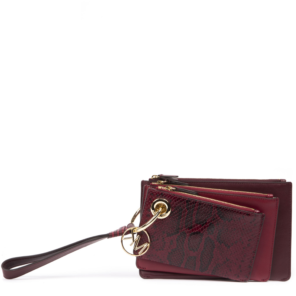 57b59af4849e TRIPLE BORDEAUX LEATHER CLUTCH SS 2019 - MICHAEL MICHAEL KORS - Boutique  Galiano