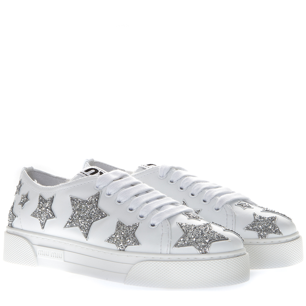 newest 2bdb7 32a29 WHITE LEATHER GLITTER STARS SNEAKERS SS19