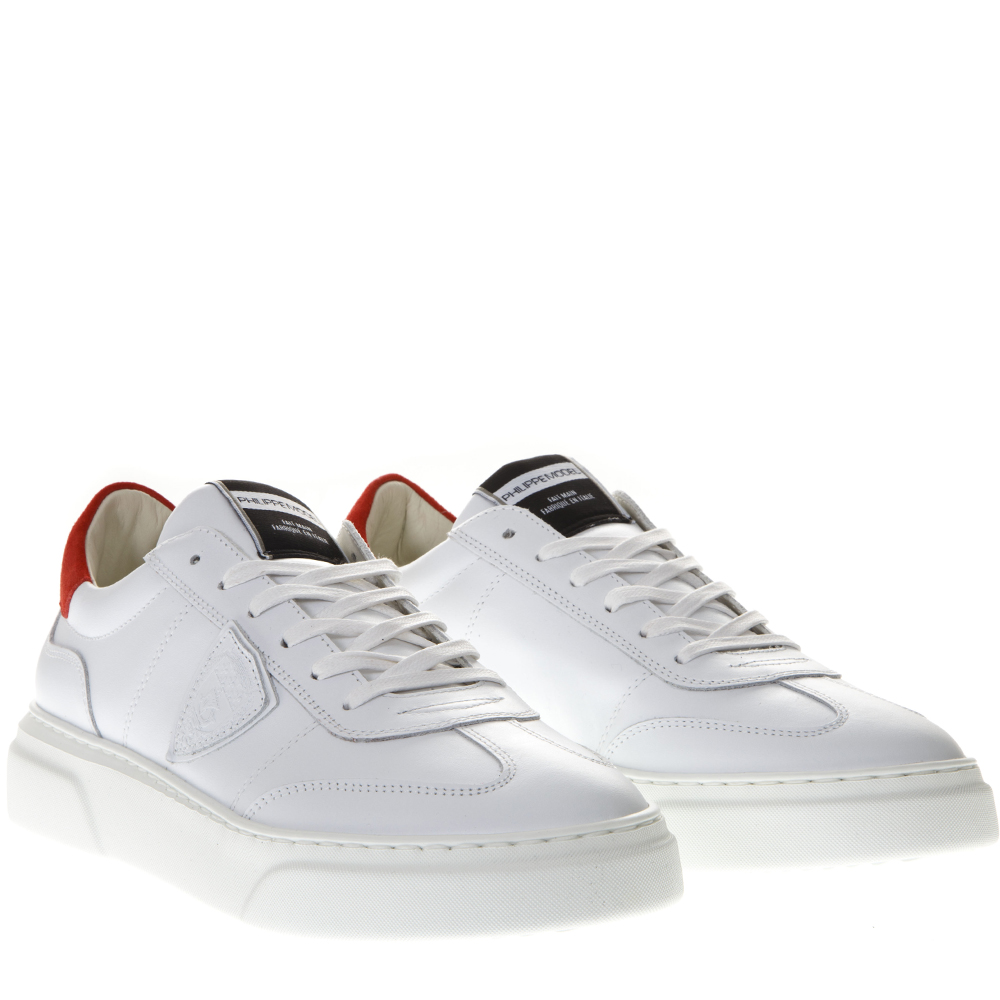 Balu White Red Sneakers In Leather Ss 2019 Philippe Model