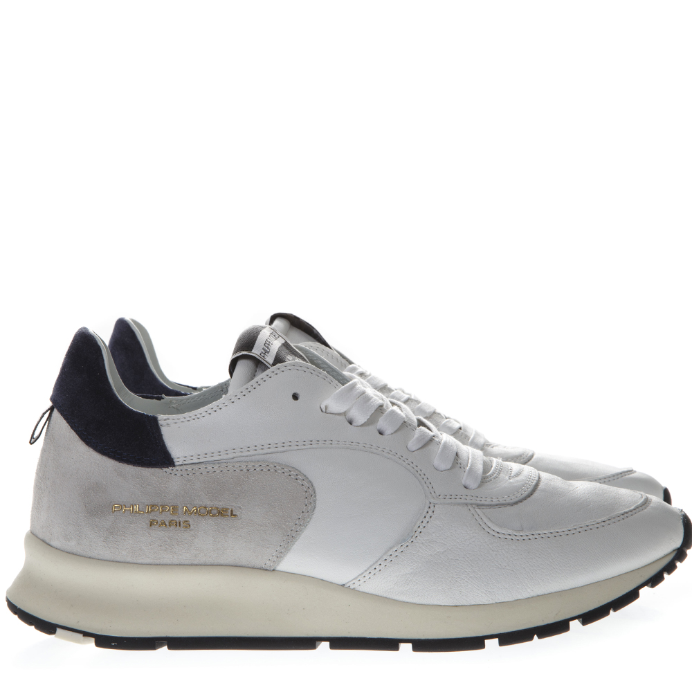 5a5bafa1f88a WHITE LEATHER   SUEDE SNEAKERS WITH SIDE LOGO ENGRAVED SS 2019 - PHILIPPE  MODEL - Boutique Galiano