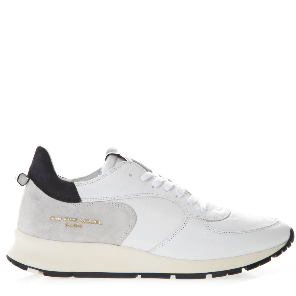6831dfb0323b WHITE LEATHER AND SUEDE SNEAKERS WITH SIDE LOGO ENGRAVED SS 2019 - PHILIPPE  MODEL - Boutique Galiano