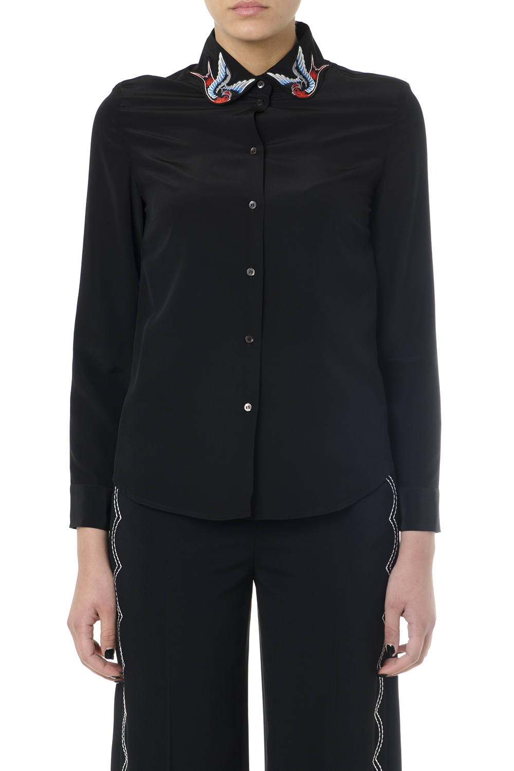 7489d51833 BLACK SILK SHIRT WITH EMBROIDERED COLLAR SS 2019