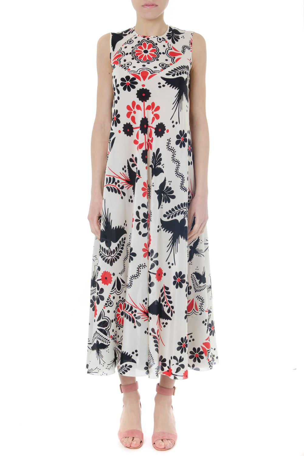 81c7b793db0 MULTICOLOR SILK FLOWER LONG DRESS SS19 - RED VALENTINO - Boutique Galiano