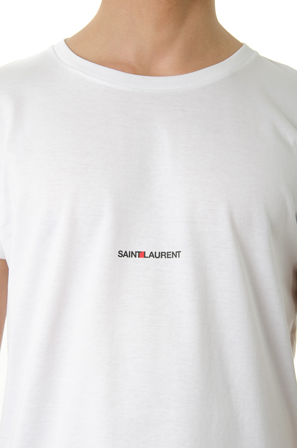 ca302fd1 WHITE COTTON BASIC T-SHIRT WITH LOGO SS 2019 - SAINT ...