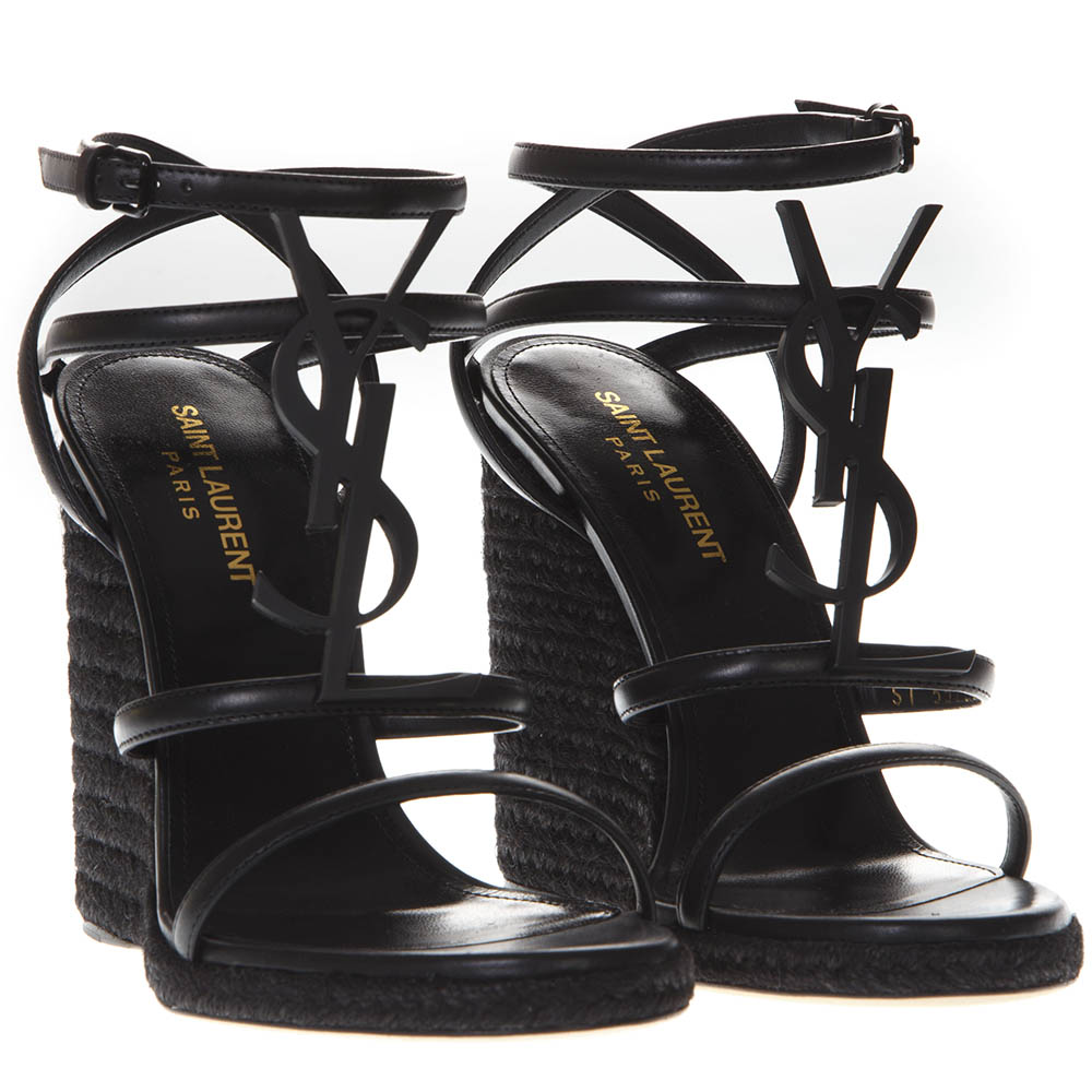 4829af096c35 BLACK CASSANDRA WEDGE ESPADRILLES IN LEATHER SS 2019 - SAINT LAURENT -  Boutique Galiano