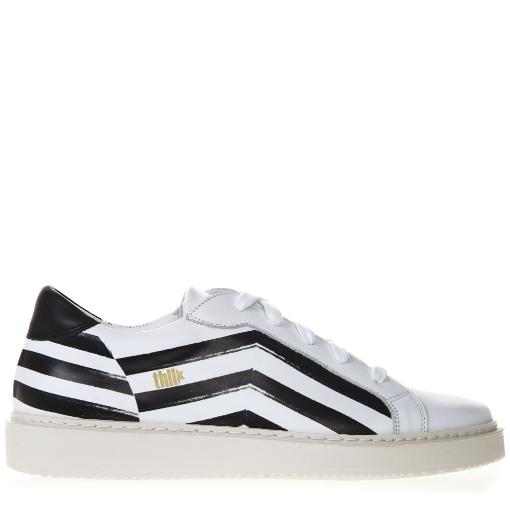 7b5afa744e1a WHITE AND BLACK LEATHER SNEAKERS SS 2019 - THoMS NICOLL - Boutique Galiano