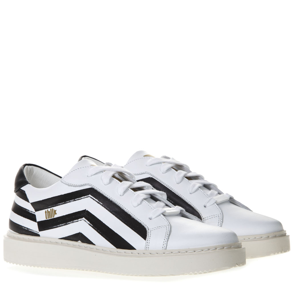 1117141a4d4c WHITE AND BLACK LEATHER SNEAKERS SS 2019 - THoMS NICOLL - Boutique ...