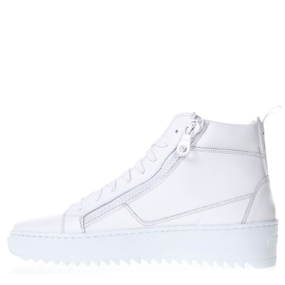 WHITE LEATHER HIGH-TOP SNEAKERS SS 2019