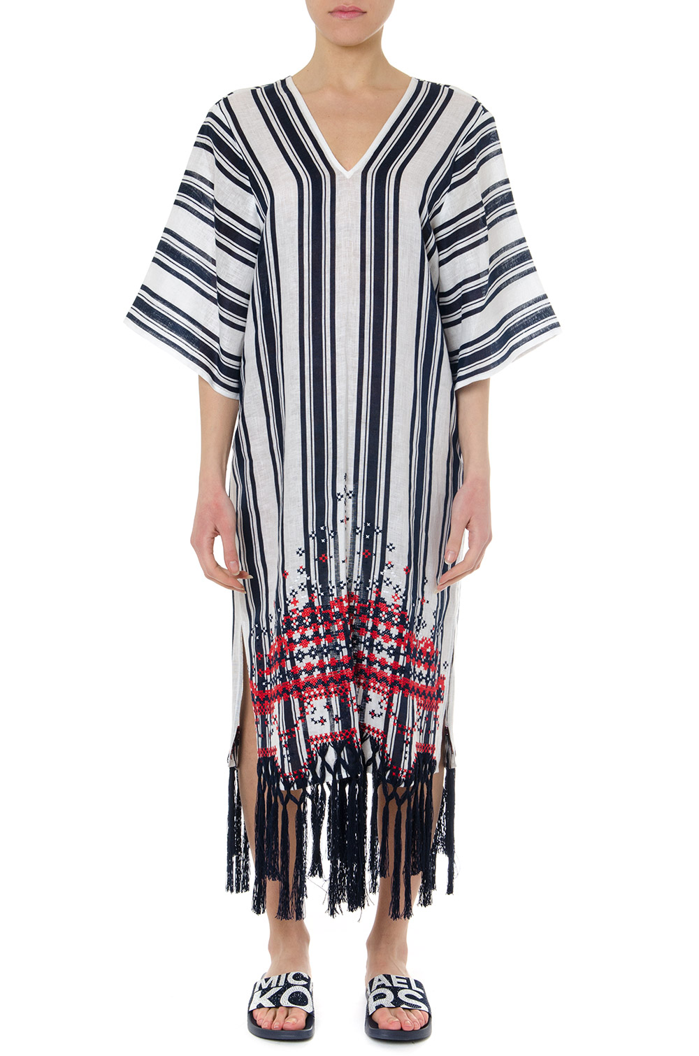 805eed2c2ef1 AWNING LINEN WHITE & BLUE STRIPED CAFTAN SS19 - TORY BURCH - Boutique  Galiano