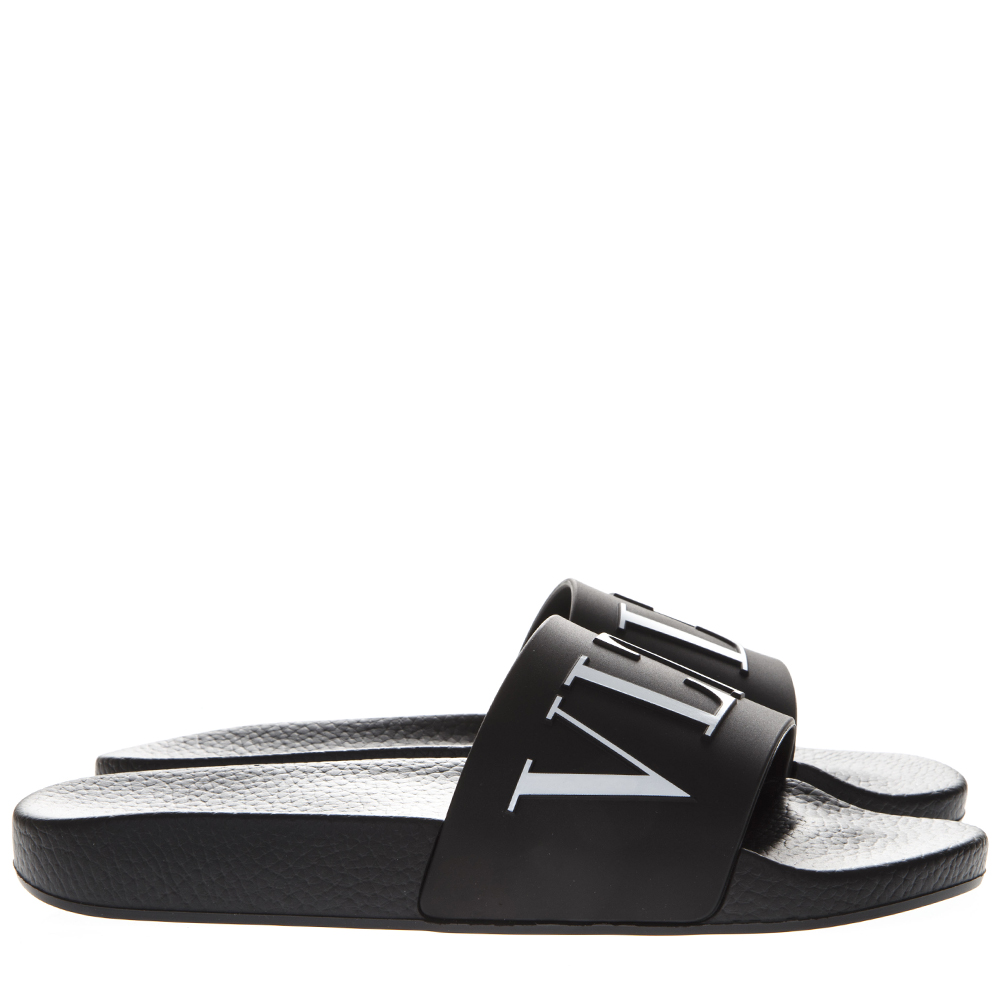 2b5355ea7dc BLACK VLTN RUBBER SLIDE SANDAL SS 2019 - VALENTINO GARAVANI - Boutique  Galiano