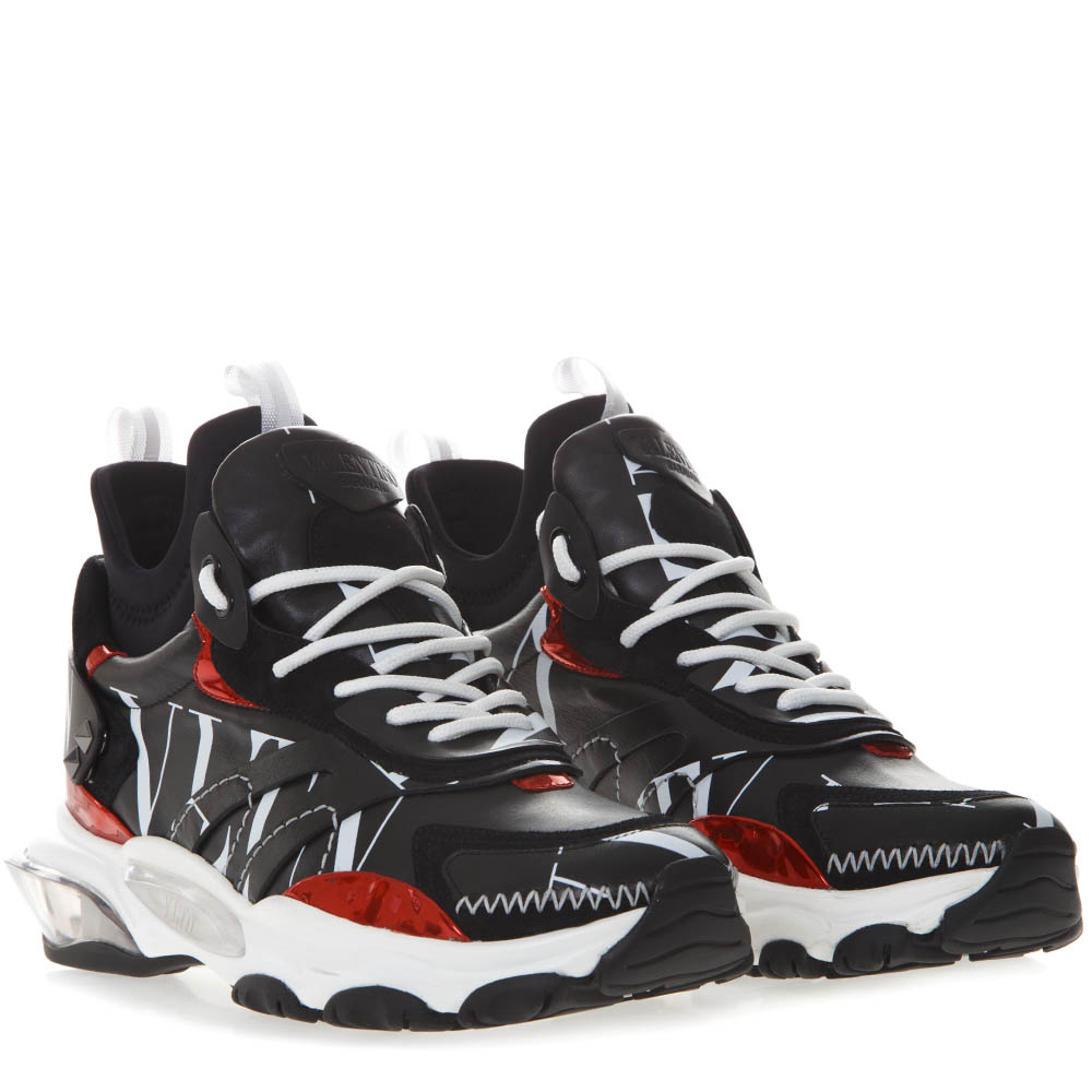 02db85a248af BOUNCE SNEAKERS IN BLACK LEATHER AND NEROPRENE WITH LOGO VLTN SS ...