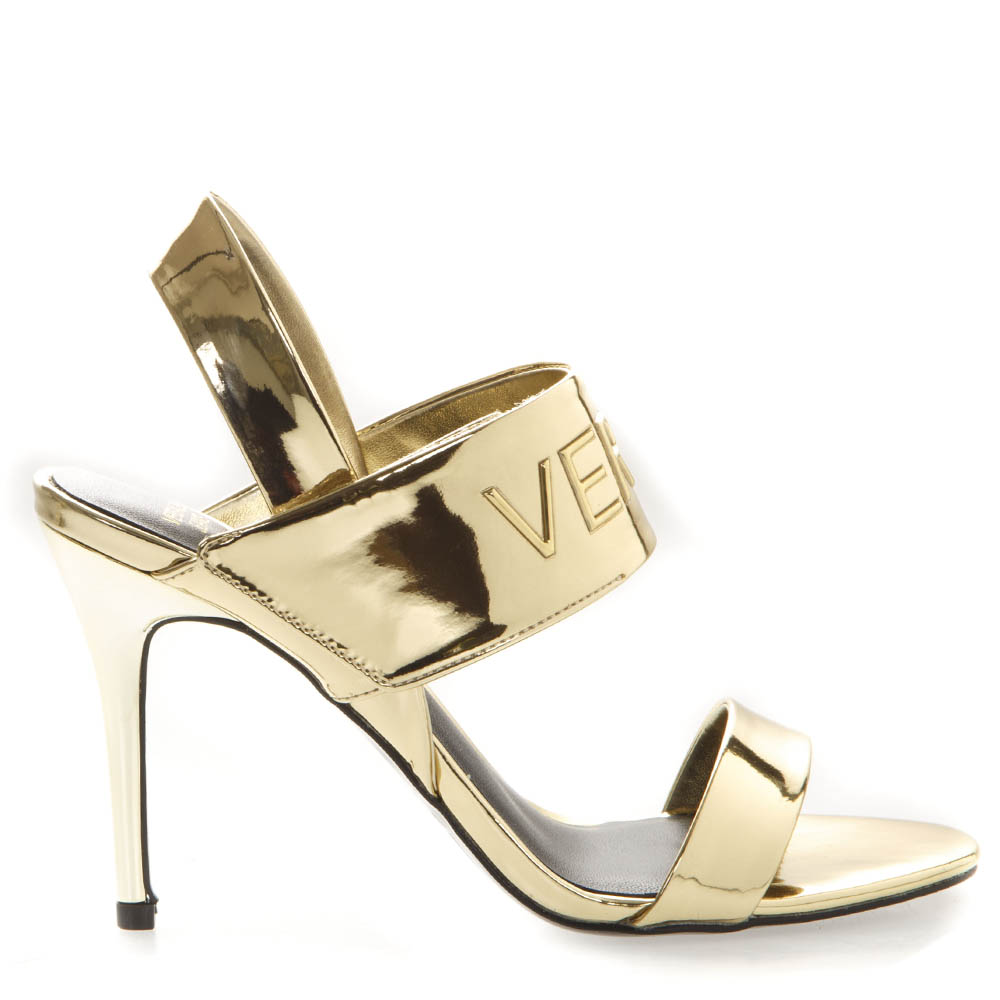 0c02ac0ad29e5e GOLD SLING BACK SANDALS IN FAUX LEATHER SS 2019 - VERSACE JEANS - Boutique  Galiano