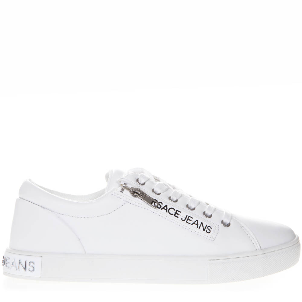 4faff2773c85 WHITE FAUX LEATHER SNEAKERS WITH LOGO SS 2019 - VERSACE JEANS - Boutique  Galiano