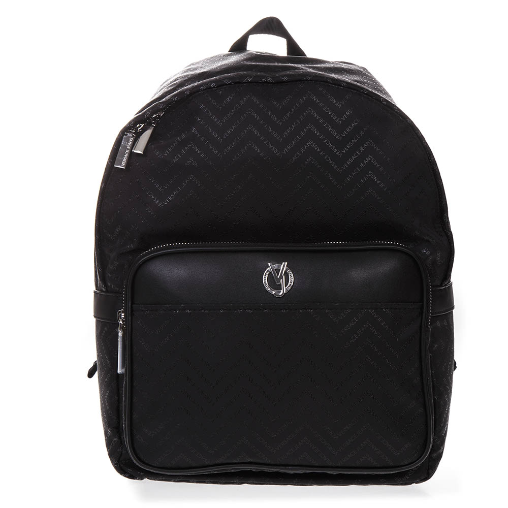 d3d85d5d48a8 BLACK FABRIC AND FAUX LEATHER BACKPACK SS 2019 - VERSACE JEANS - Boutique  Galiano
