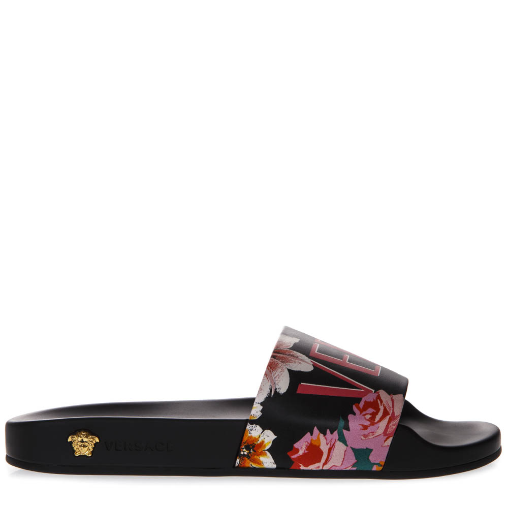 d753c8c4d50f BLACK SLIDE IN LEATHER AND RUBBER WITH FLORAL PRINT SS 2019 - VERSACE -  Boutique Galiano