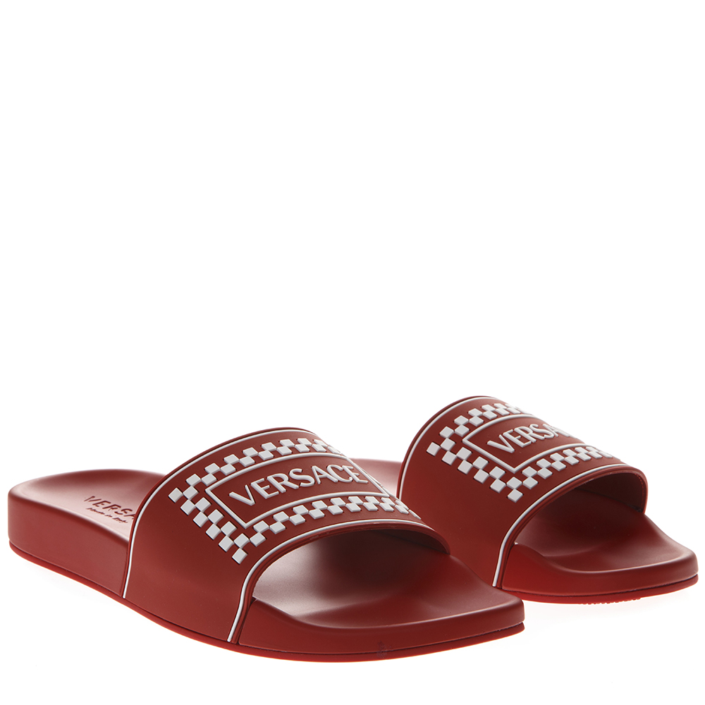 f2618836a55 RED LEATHER SLIDES WITH VERSACE LOGO SS 2019 - VERSACE - Boutique Galiano
