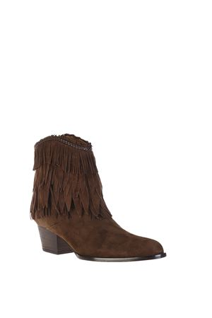 POCAHONTAS COWBOY FRINGED SUEDE ANKLE BOOTS fw 2016 AQUAZZURA | 52 | POCMIDB0SUNCHOCHOCOLATE