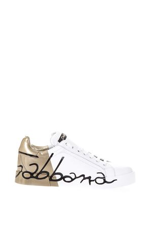 LEATHER SNEAKERS WITH DOLCE & GABBANA WRITTEN FW 2017 DOLCE & GABBANA | 55 | CK0124AI053HH821