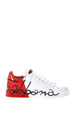 LEATHER SNEAKERS WITH DOLCE & GABBANA WRITTEN fw 2017 DOLCE & GABBANA | 55 | CK0124AI053HR821