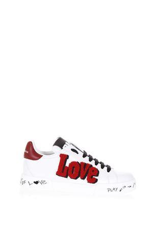 PORTOFINO WHITE  LEATHER SNEAKERS FW17 DOLCE & GABBANA | 55 | CK0150AH2038I056