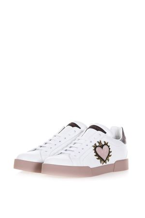 WHITE LEATHER LOW-TOP SNEAKERS WITH PATCHES FW17 DOLCE & GABBANA | 55 | CK0150AH2458I059