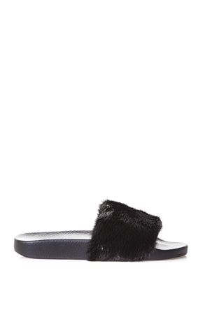 RUBBER SLIDES WITH MINK INSERT FW 2017 DOLCE & GABBANA | 87 | CW0047AG9768B956