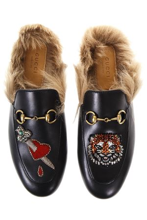 EMBELLISHED LEATHER MULES FW 2017 GUCCI | 130 | 460813DKHH01063