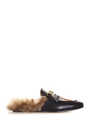 SLIPPER PRINCETOWN IN PELLE CON PATCH AI 2017 GUCCI | 130 | 472809DKHH01063