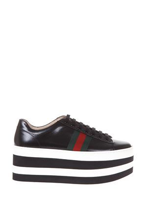 PEGGY LEATHER PLATFORM SNEAKERS FW 2017 GUCCI | 55 | 476783D3VN01060