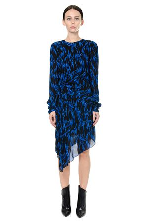 ASYMMETRICAL DRESS IN FLAME PRINT WITH DRAPED SIDE FW 2017 SAINT LAURENT | 32 | 481523Y320R1093
