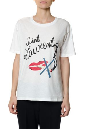 BOUCHE SAINT LAURENT BOYFRIEND T-SHIRT IN IVORY COTTON JERSEY FW 2017 SAINT LAURENT | 15 | 482444YB2JH9503