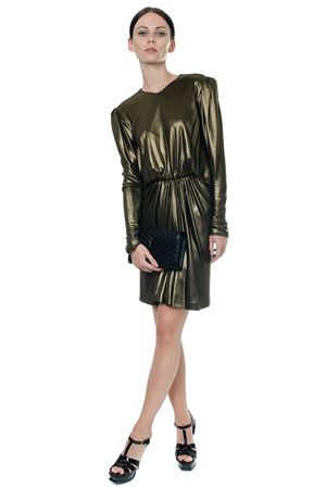 GATHERED WAIST LUREX MINI DRESS IN GOLD METALLIC JERSEY  FW 2017 SAINT LAURENT | 32 | 482930Y006Q1055