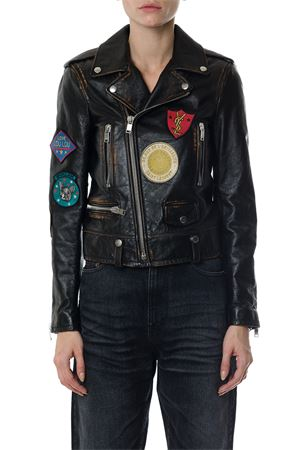 MOTORCYCLE JACKET WITH MULTICOLORED PATCHES FW 2017 SAINT LAURENT | 27 | 483854Y5RD23761