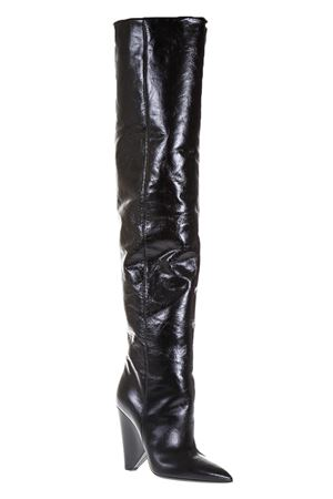 NIKI 105 THIGH-THIGH BOOT IN BLACK MORODER LEATHER FW 2017 SAINT LAURENT | 52 | 4927680AR001000