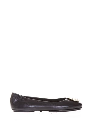 BLACK MINNIE TRAVEL BALLET FLAT IN LEATHER SS 2018 TORY BURCH | 150 | 32880MINNIE TRAVEL BALLET WITH002