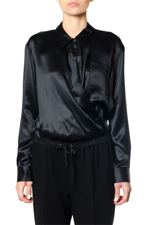 SILK CHARMEUSE LONG SLEEVE WRAP SHIRT BODYSUIT FW 2017 ALEXANDER WANG | 9 | 4W277002Q3L/S WRAP001