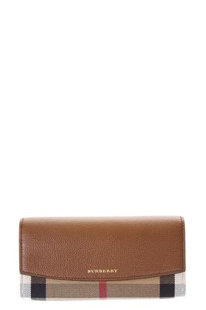 LEATHER & CHECK HOUSE FABRIC CONTINENTAL WALLET FW 2017 BURBERRY | 34 | 3975329199